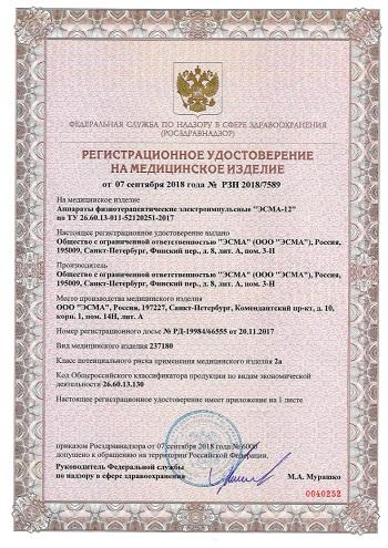 ЭСМА 12.02 Микроток: регистрационное удостоверение